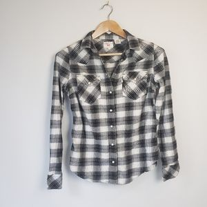 Levis Pearl Snap Black Plaid Shirt Ladies Fitted Western Rodeo Boho Shacket